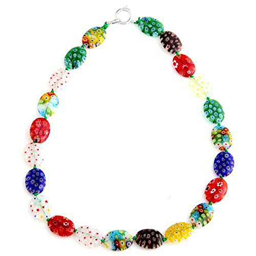 skyllc Oval Mix Colored Millefiore Murano Glass Women's Lampwork Delicated Handcrafted Beads Combined Necklace 18*13mm