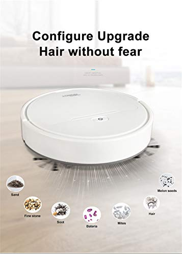 Self-Charging Robotic Vacuum Cleaner, Smart Sweeping Robot Vacuum Cleaner Floor Edge Dust Clean Auto Suction Sweeper,for Hard Floors & Carpets, App Controls, Quiet (26x26x6.5cm, White)