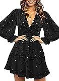 Happy Sailed Women Long Sleeve Ruffle Layer Backless Swing Mini Dresses Small Black Stars