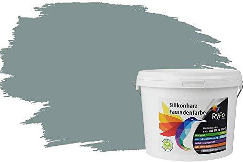 RyFo Colors Silikonharz Fassadenfarbe Lotuseffekt Trend Fjordgrau 3l - bunte Fassadenfarbe, weitere Grau Farbtöne und Größen erhältlich, Deckkraft Klasse 1