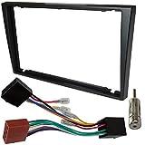AERZETIX - Kit de montaje de radio de coche estándar - 2DIN - Marco, cable enchufe y adaptadores de antena - Negro - C4580A