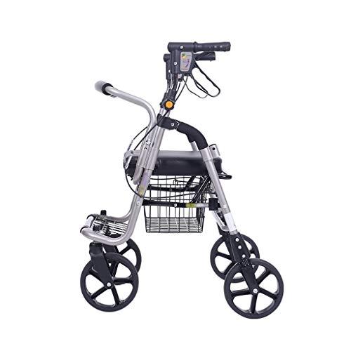 CHenXy Ältere Folding Walker Einkaufswagen mit Sitz und Rädern, ausgestattet mit Doppelbremsen und Pedalen for ältere Menschen, geeignet for Wandern und Einkaufen medizinische Walker (Color : Black)