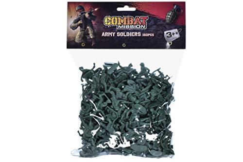 KandyToys Combat Mission 160 Stück Kunststoff Spielzeug Soldaten - Tasche mit traditionellen grünen Armee Soldaten Figuren