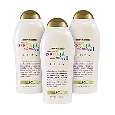OGX Extra Creamy + Coconut Miracle Oil Ultra Moisture Lotion, 19.5 Ounce (Pack of 3)