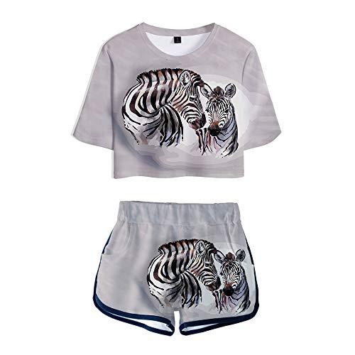 wywyet 3D Deux pièces Ensembles Motif de Cheval Animal T-Shirt à Manches Courtes + Short Costume Femmes étudiant Jeunesse vêtements, XXL