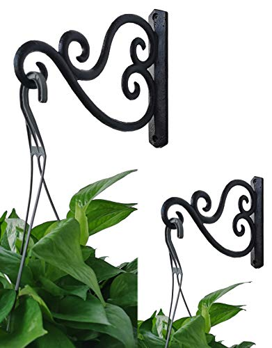 Iron Wall Brackets Hanger - Wall Hook for Planter - Wall Hanger for Hummingbird Feeders Lanterns Wind Chimes, Pack of 2