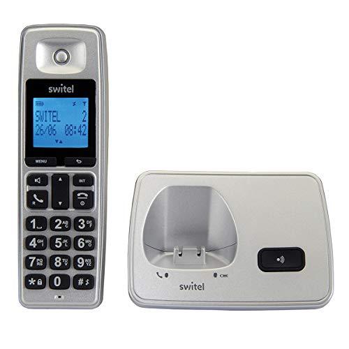 Switel DC2000 schnurloses DECT-Telefon, Display beleuchtet, Freisprechen, Telefonbuch bis zu 100 Einträge
