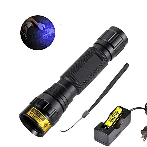 BESTSUN - Linterna UV de 5 W, 365 nm, luz ultravioleta LED, linterna profesional de luz negra para curado de pegamento UV, detector de...