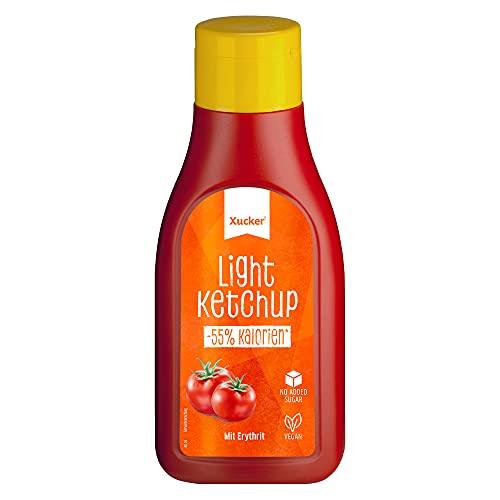 Xucker Light Ketchup mit Erythrit - Xucker Ketchup ohne Zucker-Zusatz I Ketchup zum Grillen, Kochen & Würzen I 55{e63f6070cf17f22259bbd565500cd5ed8b182f908c17f276f7357b3a29a73320} weniger Kalorien I veganer Ketchup (500 ml)