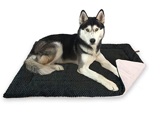 FLUFFINO® Hundedecke - Flauschig, Weich u. Waschbar (Größe L, grün)- Wildlederimitat für erhöhte Rutschfestigkeit - Für große u. Kleine Hunde o. Katzen - Hundematten/Hundekissen, Katzendecke