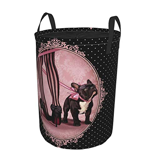 Janrely Personalized Large Washing Clothes Hamper for Household,Pink Dog My French Bulldog Legs Black,Round Folding Laundry Basket Family Toys Storage Sack,16.5 x 21.6in