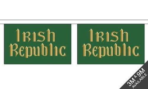 Pâques Rising (irlandais Republic) Horizontal - 3 mètres de long, 10 BRUANT de DRAPEAU + 59mm Insigne de bouton