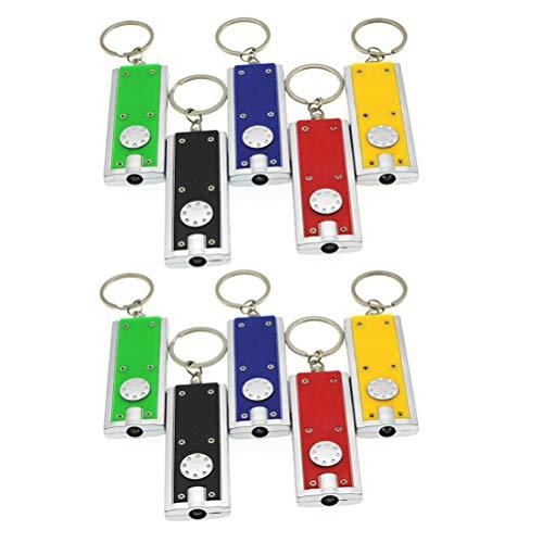 VALICLUD 10 Stück Tragbare LED-Schlüsselanhänger Mini-Taschenlampen-Schlüsselanhänger (zufällige Farbe)