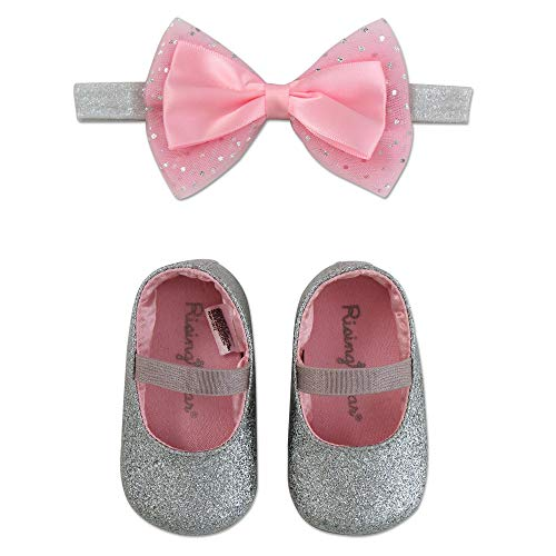 Price comparison product image Rising Star Baby Girls Shoes and Headband Gift Box Set,  Silver Bow,  0-6 Months