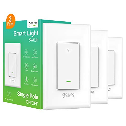 Smart Light Switch, Gosund Smart WiFi Light Switch Compatible with Alexa and Google Assistant, Voice Control/App Remote Control, Single-Pole, Neutral Wire Required, 2.4Ghz Only (3 Pack)