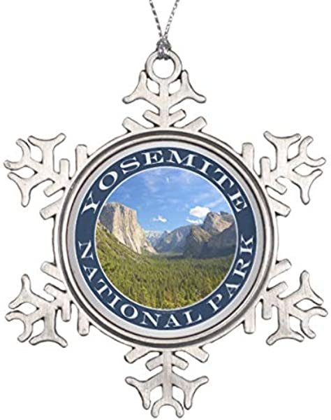 Valley Blue Sky Half Dome Yosemite National Park Snowflake Pewter Christmas Ornament