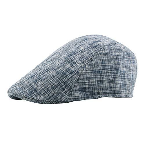 Scrox 1x Hombre Mujer Sombreros Gorras Boinas Moda Vintage Raya Flat Cap Casual Unisex Otoño Invierno Outdoor Algodón Ocio Hat Sombrero Corto (Azul Marino)