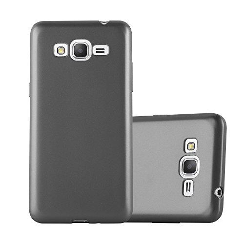Cadorabo Funda para Samsung Galaxy Grand Prime en Metallic Gris - Cubierta Proteccíon de Silicona TPU Delgada e Flexible con Antichoque - Gel Case Cover Carcasa Ligera