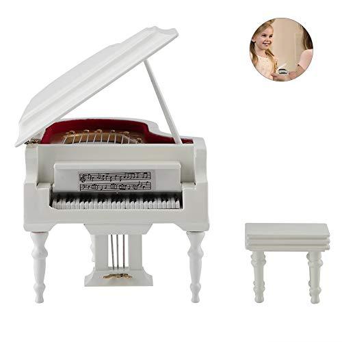 Semme miniatuur piano delicated houten mini-instrument-ornament met bank en koffer, kinderen of muzikanten vrienden