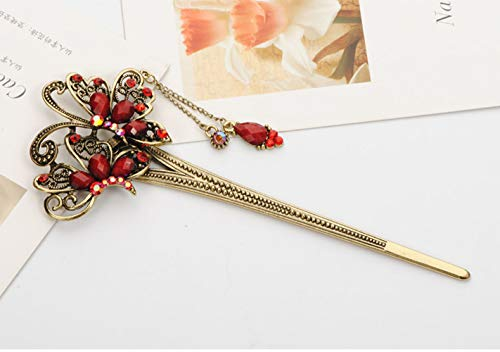 Qiyun Peacock fleur d'oiseau chanceux Totem Red Rhinestone perle en laiton antique en metal epingle acheveux de baton Accessoire de Ancient Chinese femmes pour les cheveux longs