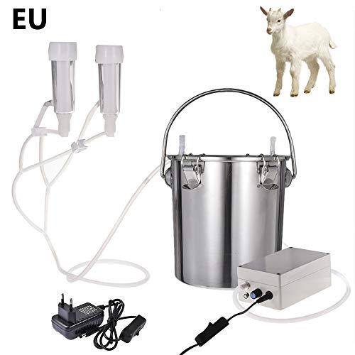Funihut Elektrische snijmachine, 5 l, minitype, draagbaar, van roestvrij staal, dubbele kop, voor elektrische koeienmelkmachine (voor schaap, EU-stekker)