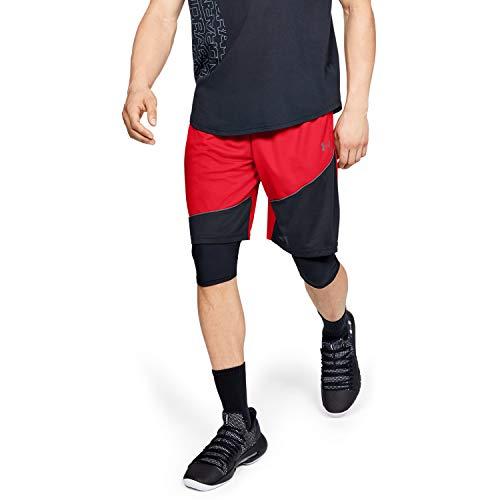 Under Armour Baseline 10In Pantalones Cortos, Hombre, Rojo, SM