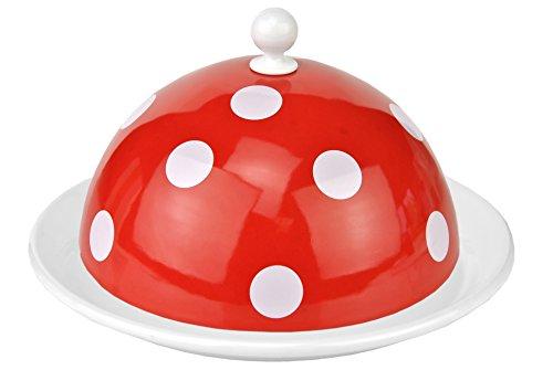 Münder Emaille - Butterdose, Teller mit Cloche - nostalgisch - Ø Deckel: 16 cm , Platte Ø 19,5 cm - Farbe: Rot mit weißen Punkten- 2-teilig