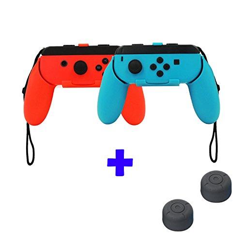 QUMOX Controlador Grip Joystick - Rojo/Azul & Cubiertas de Palo de Agarre para Pulgar - Negro para Nintendo Switch Joy-con