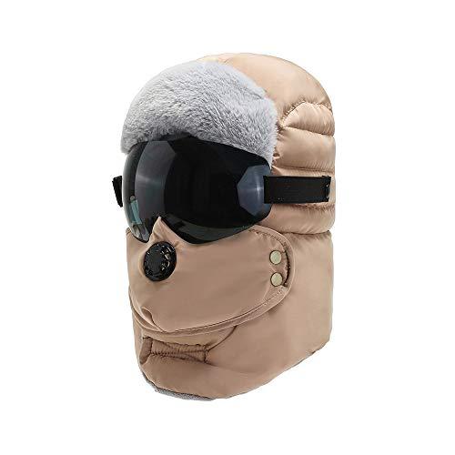 WSZDKA-WOMENBELT Chapka Homme Trappeur Bomber Casquettes avec Masque DéTachable Anti-Vent Anti-PoussièRe Unisexe Chapeau Chaud pour Ski Snowboard VéLo Moto 22-23,5 Pouces Beige (Lunettes Noires)