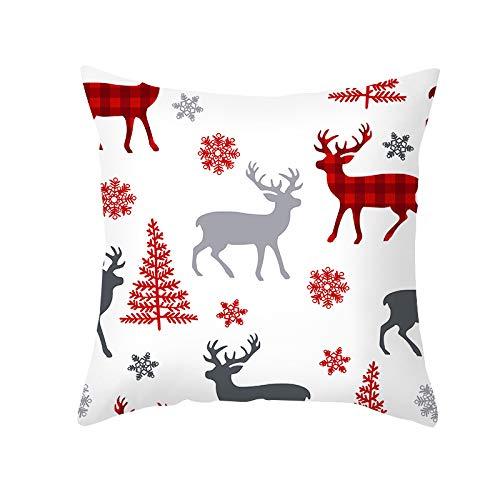 MetalDZ, Christmas Pillow Cases,18' Throw Pillow Cover Cushion Cover Cotton Linen Home Sofa Throw Decor Xmas(TPR303-7)