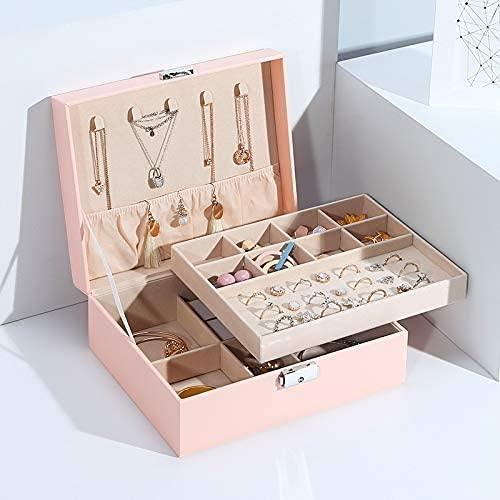 Gymqian Caja de Alenamiento de Joyería de Terciopelo Grande Organizador Pu Collar de Cuero Anillo Anillo Pendiente Joyería Caja de Joyería Embalaje Ataúd Moda