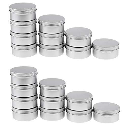 Bonarty 20pcs 150ml Pots en Aluminium, Conteneurs Cosmétiques Vide Pots de Voyage pour Maquillage, Crème, Baume à Lèvres