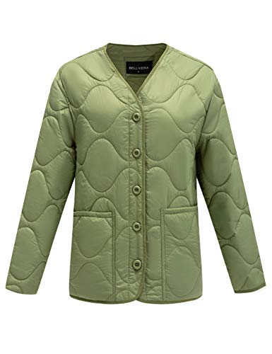 Bellivera Thin Lightweight Jacket Women,Puffer Coat Cotton Filling for Spring and Fall Green Large