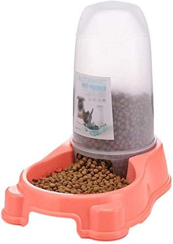 Plastic huisdier Automatische feeder Hond Kat Huisdiervoeding Gieter Drinkfonteinen Hond Kattenvoer voor huisdieren Voerbakken Graanbakken Schoon (roze, maat: 6,96 * 16,73 inch)