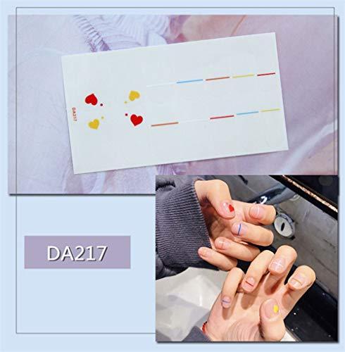 Nagelaufkleber,14 Tipps/Blatt Volle Deckung Wraps Nagellack Sticker Reinen Herzen Designs Rot Gelb Nailart Maniküre Tipps