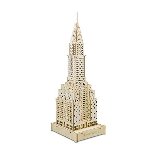 CCCYT Puzzles 3D Adultos Maquetas De Madera para Construir para Montar Edificio Chrysler Rompecabezas 3D para Adultos Modelos De Juguete De Madera Kits para Construir Steam Express