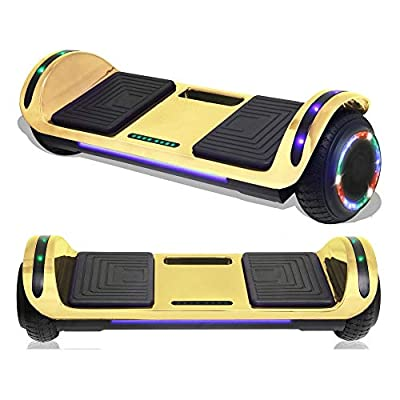 TPS Electric Hoverboard Self Balancing Scooter with Charger for Kids and Adults Built-in Speaker and LED Lights - Safety Certified (Chrome Gold)