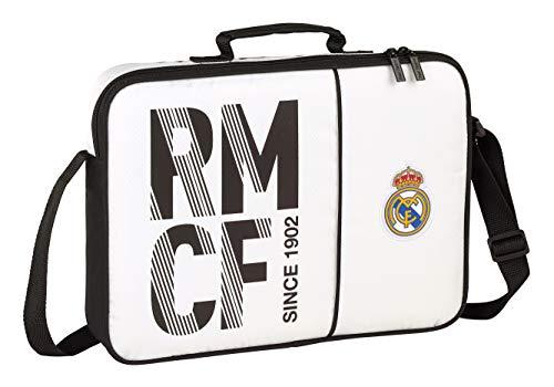 Real Madrid CF Bolso maletín Cartera extraescolares niño. Accesorio de Viaje-Etiquetas de Equipaje, Niños, Blanca/Negra, 38 cm