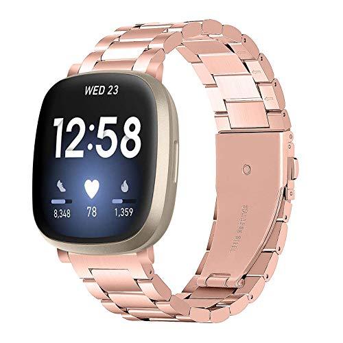 BFISOD Versa 3 Wristband, Pulsera Ajustable de Acero Inoxidable para Mujeres Hombres Correa de Reloj Deportivo sólida Correa de Accesorios para Fitbit Versa 3 / Versa Sense Smart Watch (A06)