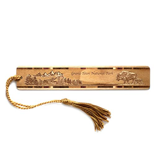 Mitercraft Grand Teton National Park, Wyoming Engraved Wooden Bookmark with Tassel - Also Available Personalized