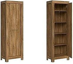 ZGMCGD Tall Cabinet Oak Finish Soft Close Door Storage Unit Hallway Wardrobe