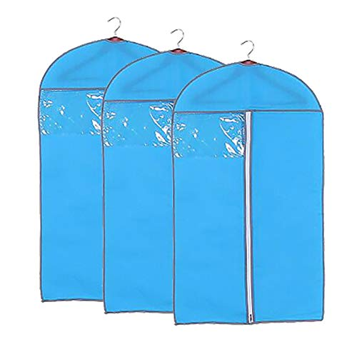 "QEES 3PCS Garment Bags for Storage, Purple Full Zipper Suit Bags, Hanging Clothes Garment Bags for Closet 23.6""X47"" YFZ16 (Blue)"