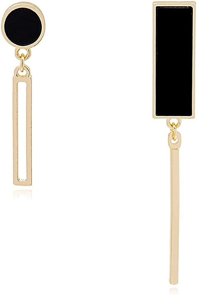 CHUNYANAN Boho Asymmetrical Geometric Black Square Rectangle Fashion Dangle Drop Earrings For Women Girl Stylish Simplicity Sparkly Earrings Jewelry Gift