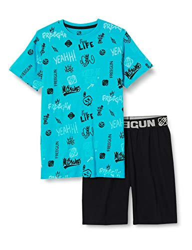 Freegun EG.FGGRA.PSH2S.MZ Juego de Pijama, Aqua/Noir, 10 años para Niñas