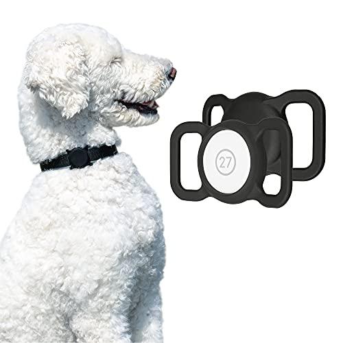 Artwizz PetStrap - Funda compatible con Apple AirTag como colgante para collar de perro - Funda de silicona para colocar el rastreador GPS en el collar de mascotas - 2 unidades - Negro y negro