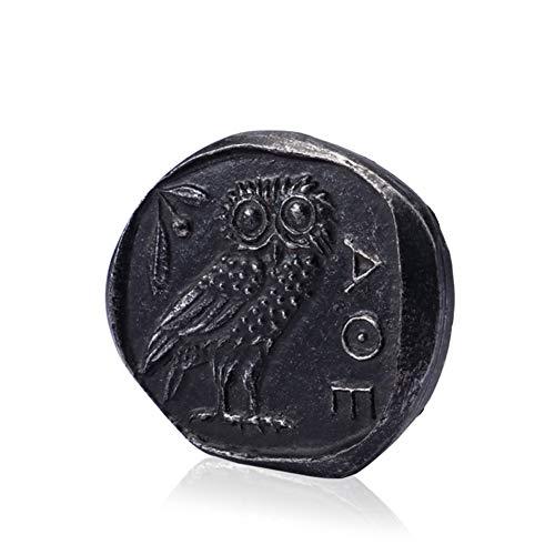 Griechische Eule Silbermünze, antike griechische Münze Relikte Neuheit dekorativ Athena Logo Large 9,5 * 8,3 * 1 cm