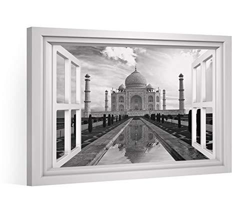 Fensterblick Leinwandbild schwarz XXL tadsch mahal Indien Palast Leinwand Bild Bilder Leinwandbilder Keilrahmen 9CE2068, Leinwand Gr.:60x40cm