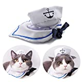 PETLESO Cat Costume Pet Halloween Costumes Cat Sailor Hat Outfit for Kitten,Puppy