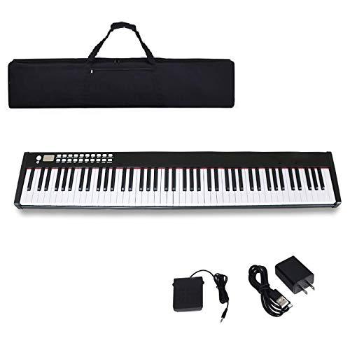 MAGICON Multi-Function 88 Key Digital Electronic Musical Keyboard Piano,&88-Key Portable Piano Keyboard, Built-In Amplifying Speakersr, Foot Pedal/Power adapter/ard piano 88 keys| Free handbag (Black)