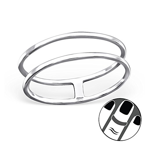 ICYROSE 925 Sterling Silver Double Rings Above Knuckle Ring Mid Finger Top Stacking Summer Women's (20736)